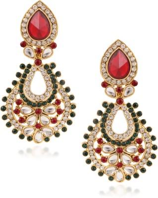 Fashionaya Red Green Pearl Cubic Zirconia Alloy Drop Earring