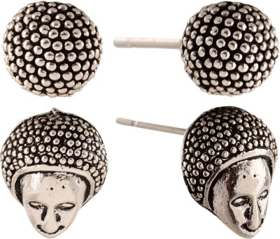 Anokhi Ada Human Face and Dot Sphere Metal Stud Earring