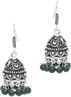 Supriya Green Pearls White Metal Jhumki Earring