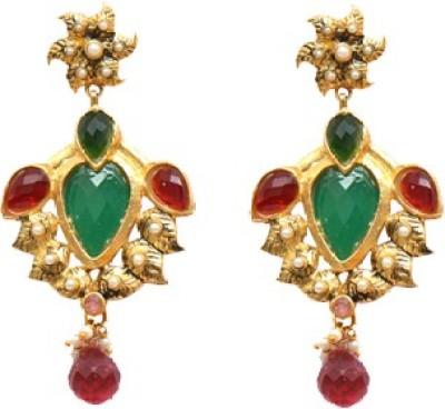 Ratnakar Beautiful Green Anad Pink Stone Brass Drop Earring