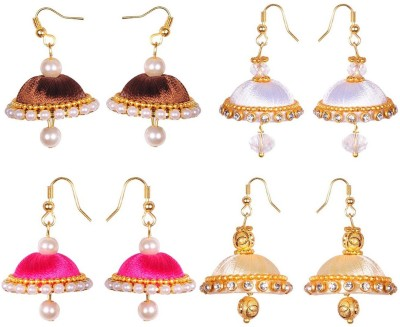 RK City Shopping SILK-THREAD-SMALL-SIZE Fabric, Plastic Earring Set