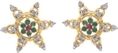 My Sara Multicolor For Women In Copper Cubic Zirconia Brass, Copper Stud Earring