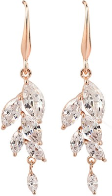 iSweven Cubic Zirconia For girls 18K Gold Plated Leaf Dangle Fashion Jewelry Top Quality Anniversary Party Gift Alloy Dangle Earring