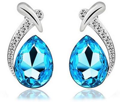Silver Shoppee Water Droplet Crystal, Cubic Zirconia Alloy Stud Earring