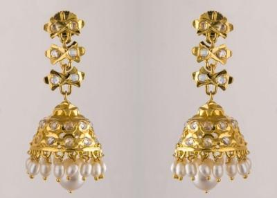 Krishna Pearls & Jewellers Pearl Alloy Jhumki Earring