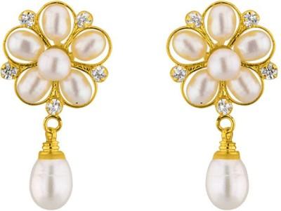 JPearls Flower Pearl Alloy Drop Earring