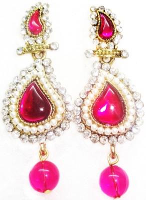 SB Fashions Dark pink pearl earring Brass Drop Earring