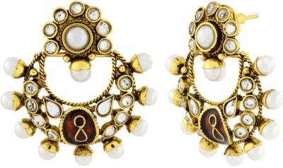 Naveli Antique Kundan Festive Chaand bali Copper Drop Earring