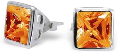 Maayin Square CZ - Orange Sterling Silver Stud Earring