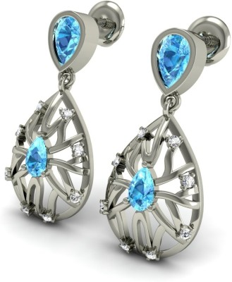 R S Jewels Creative Designs White Gold 18kt Diamond, Topaz Drop Earring