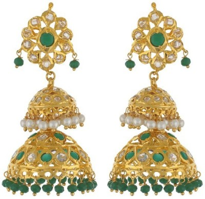 Nisa Pearls Fashion Era Crystal Alloy Jhumki Earring