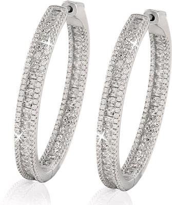 Eve's Wardrobe Swarosvki Cubic Zirconia Sterling Silver Hoop Earring