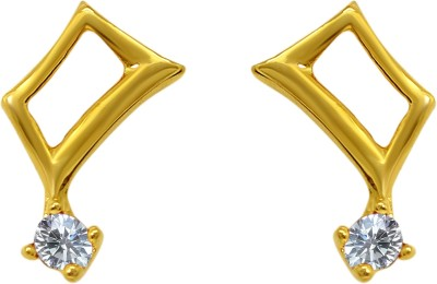 Mahi White Curvy Square Cubic Zirconia Alloy, Brass Stud Earring