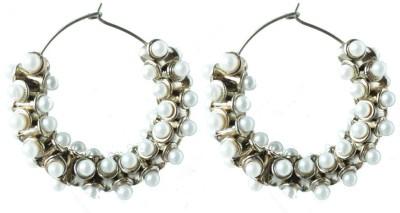 Aanjaneys Indian Ethnics Stylist Pearl Brass Hoop Earring