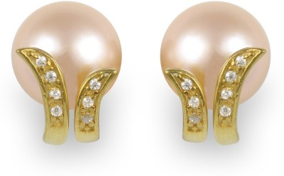 Exxotic Jewelz Designer Fashion Pearl, Cubic Zirconia Silver Stud Earring
