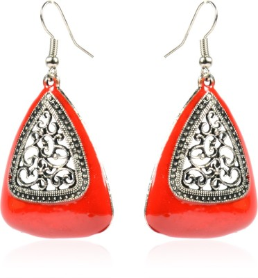 Colors of Sin Triangle center filigree Red Metal Dangle Earring, Drop Earring