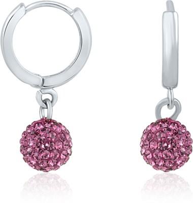 Mahi Dangling Beauty Violet Bali Swarovski Crystal Alloy, Brass Hoop Earring at flipkart
