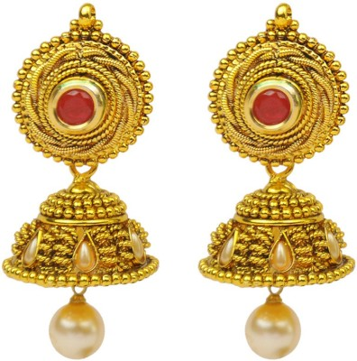 Jillcart Ruby Stone With Pearl Hanging Jhumka Ruby Copper Jhumki Earring