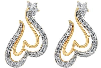 Eloiny American Diamond Two Tone Cubic Zirconia Brass, Alloy Drop Earring