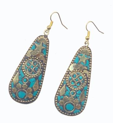 Pearls India Star Green Metal, Lac Dangle Earring