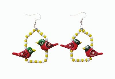 Juhi Malhotra Yellow And Red Fun Wood Dangle Earring