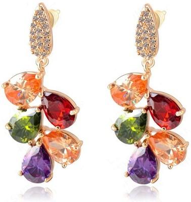 Wearyourfashion Multicolour Leaf Cubic Zirconia Alloy Drop Earring