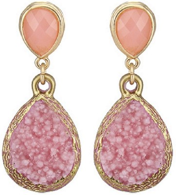 Bohocraft Parisienne Textured 18K Gold Plated Rose Pink Simulated Druzy Stone, Alloy Drop Earring
