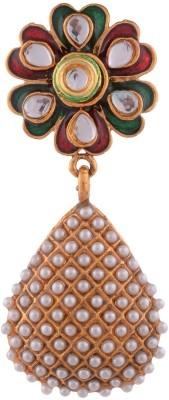 Grandiose Plated Pearl and red meenakari flower Copper Dangle Earring