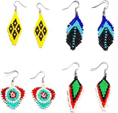 Laron Handicrafts Woven Delight Glass Earring Set