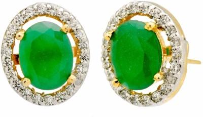 YugshaJewels Elegant YJE-1371 Emerald, Cubic Zirconia Brass Stud Earring