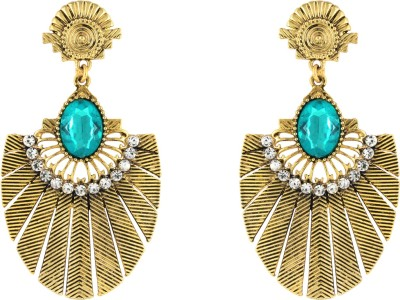 Donna Blue Oval Crystal Metal Drop Earring