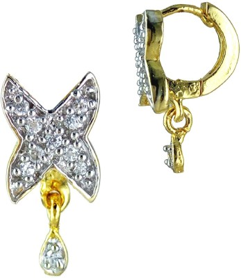 YUVEN Clear Shining CZ Pretty Zircon Brass, Alloy Hoop Earring