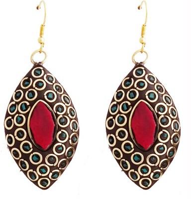 Gems N Pearls Tibetan Mosaic Brass Dangle Earring