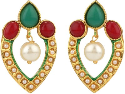 Rajwada Arts Green Enamel Brass Drop Earring