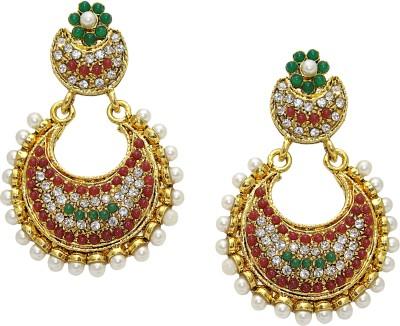 Aarnaa Rubi Green Gold Plated Earing Alloy Chandelier Earring