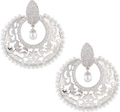 Beautiart Silver Pearl Filigree Cubic Zirconia Alloy Chandbali Earring