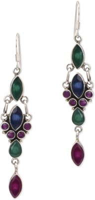 ZeroKaata Royally Indian Earrings- Burgundy Ruby, Emerald, Sapphire Sterling Silver Dangle Earring