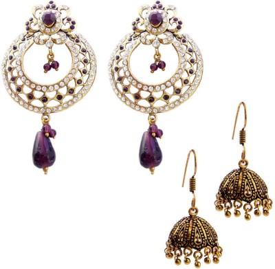 MK Jewellers Victoria & Oxidized Earring Combo Brass, Copper Earring Set
