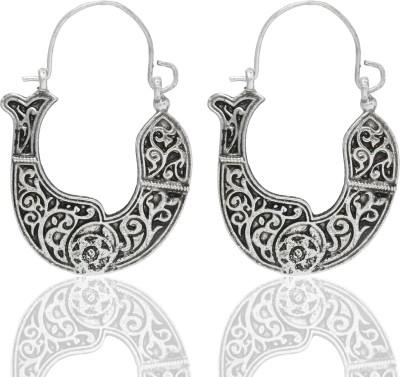 Castle Street Ethnic Silver Alloy Hoop Earring
