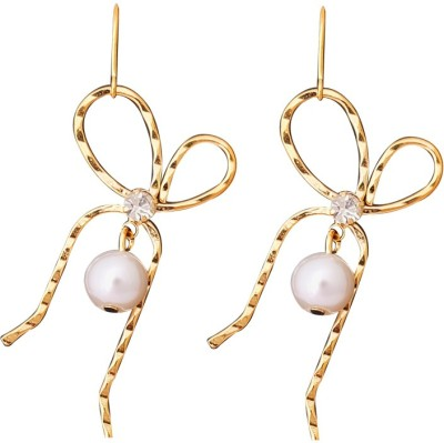 Super Drool Golden Bow And Pearl Alloy Drop Earring