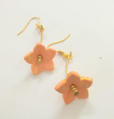 Craffiti Flower Golden Stone Clay Ceramic Drop Earring