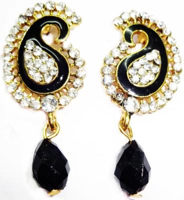 SB Fashions black Pearl Brass Drop Earring