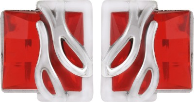 Gracent Rectangular Shaped Designer Red Metal Stud Earring