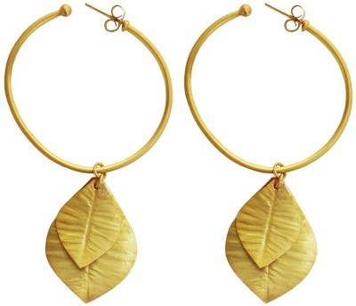 Mehrunnisa Fashion Gold Plated Bali With Leaves Hanging Metal Drop Earring