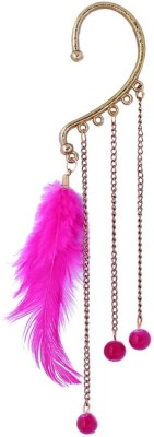 Vanity Roots Pink Feather Alloy Cuff Earring