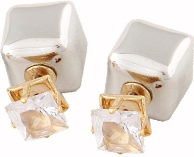 Cilver Fashion Trendy double faced silver square Zircon Alloy Stud Earring