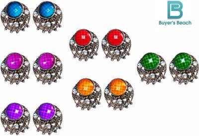 Buyer's Beach Buyer's Beach Moon-Shape Fancy Multicolor Tops Set Of-6 Metal, Alloy Earring Set