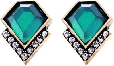 Young & Forever Margarette,s Emerald Alloy, Crystal Stud Earring