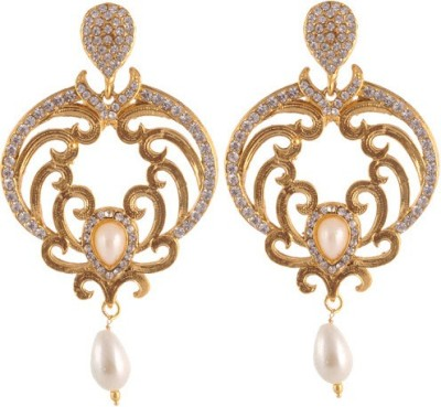 Sewad Elegant Light weight golden with pearl hanging white color for womens Copper Drop Earring