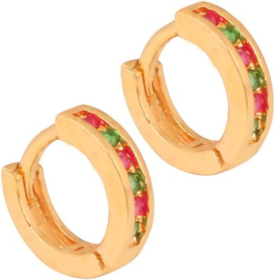 Super Shine Jewelry Spring Sparkle Ruby Brass Huggie Earring